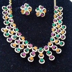 Jewelry - Gorgeous multicolored rhinestone demi parure